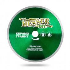Алмазный диск 180 мм со сплошной кромкой для болгарки (УШМ) по керамограниту MESSER-DIY