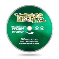Алмазный диск 300 мм со сплошной кромкой для станка и резчика по керамограниту, граниту и мрамору MESSER-DIY
